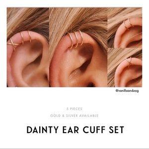 Dainty minimal 5-piece silver gold ear cuff set